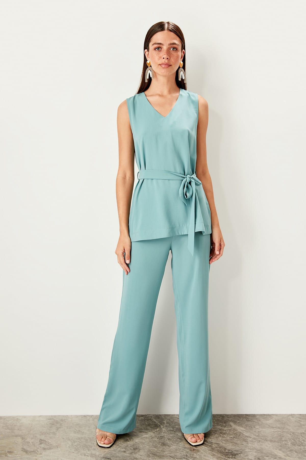 Trendyol Mint Flare Pants TWOSS19WX0113