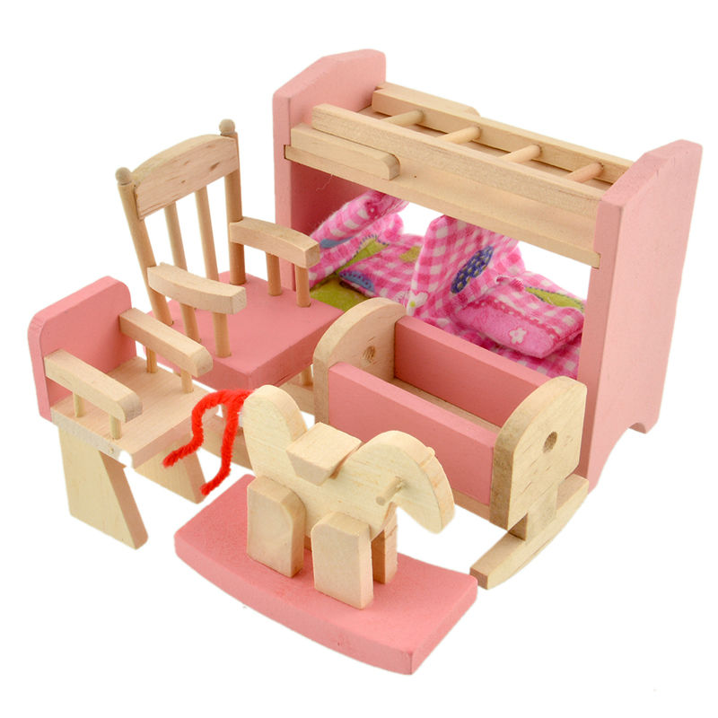 1set Wooden Doll Bunk Bed Set Furniture Dollhouse Miniature For Kids
