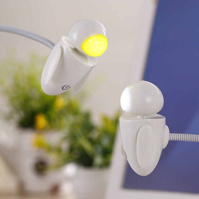 Tiny Desk Lamp Small USB Dimmable LED Desk Table Light Small Robot ...
