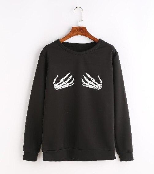 Frauen Fashion O ansatz Lange Sweatshirts Punk Funny Schädel Knochen Druck Plus Größe Pullover - 6