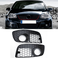 1Pair Honeycomb Car Front Bumper Fog Light Grille for VW US version Golf 5 GTI 2005 2006 2007 2008 2009 High Quality ABS Plastic