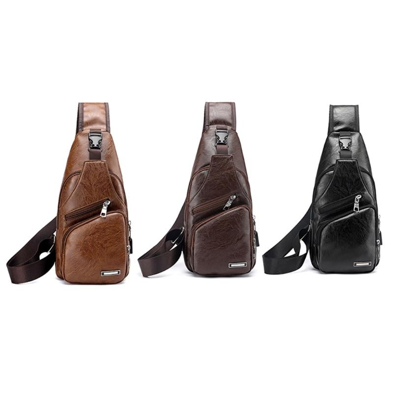 Men's Fashion Crossbody Single Shoulder Bag USB Casual Chest Bags High Quality Faux Leather Shoulder bag Chest bag minimalist casual faux leather 3 pieces shoulder bag set