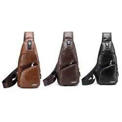 Men's Fashion Crossbody Single Shoulder Bag USB  Casual Chest Bags High Quality  Faux Leather Shoulder bag Chest bag