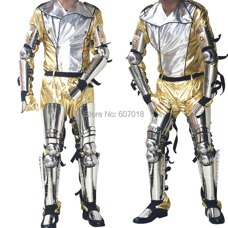Rare Scream Hot MJ Michael Jackson History Tour Concert Classic Silver Stainless Steel Armor & Golden Costume Full Set