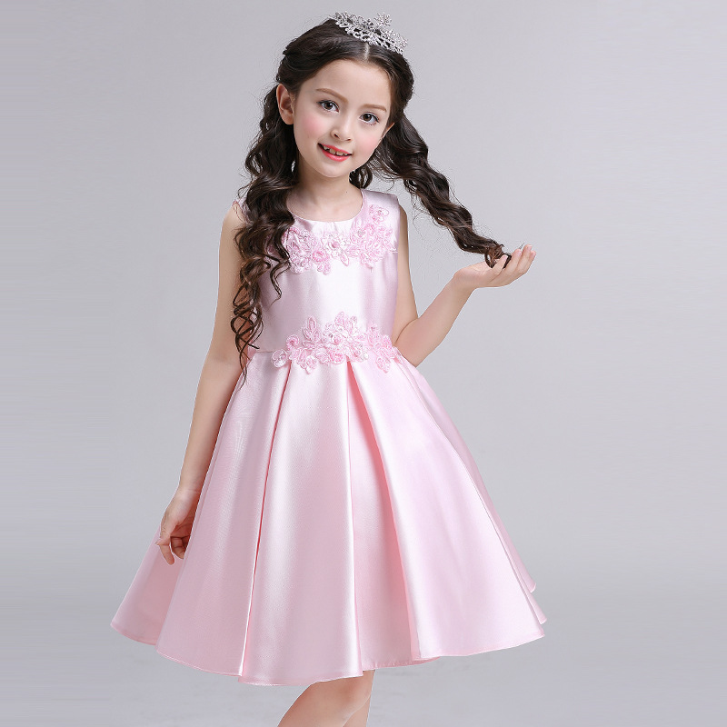 NEW SPRING/SUMMER kids girls beautiful satin dress sleeveless costumes flower girl princess party/wedding/performer/host dress