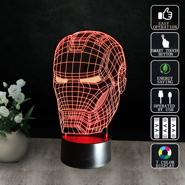 Iron Man LED Table Lamp 3D optical illusion Night Light Transparent Acrylic Deco Veilleuse Enfant Home Bulbing nightlamp