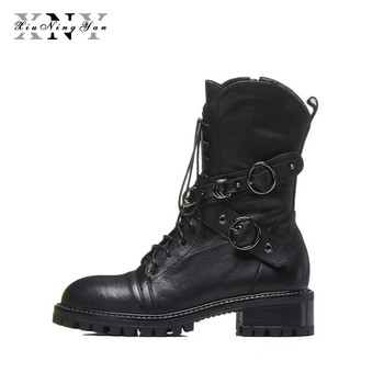 XiuNingYan Brand Natural Genuine Leather Women Ankle Boots Shoes Autumn Winter Medium Height Martin Boots Girls Motorcycle Boots