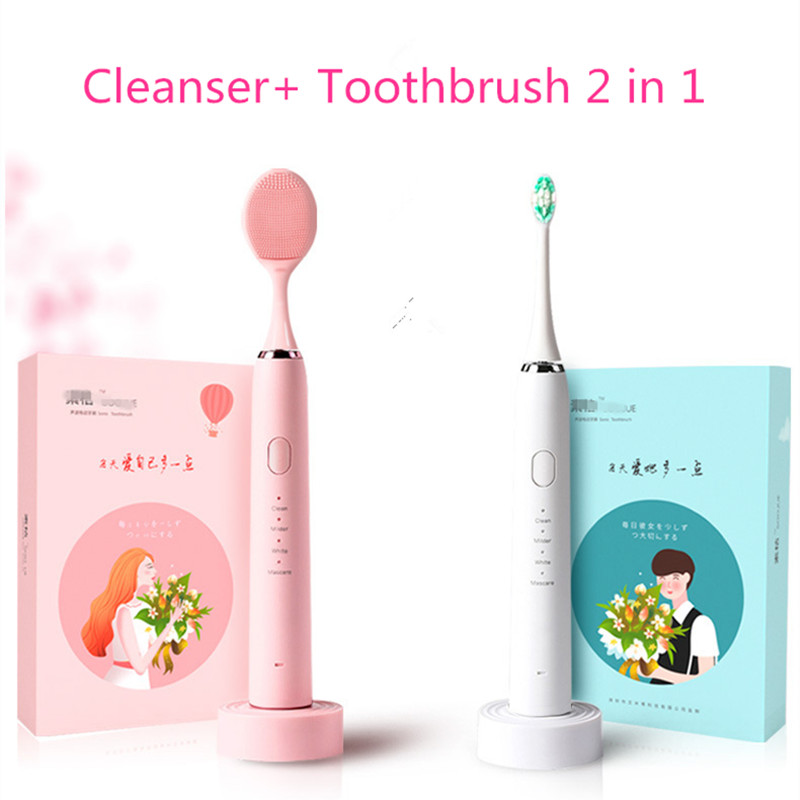 Adult  Sonic Electric Toothbrush Cleansing Device 2in1USB Inductive Charging Acoustive Wave Electric Toothbrush Pulse Toothbrush