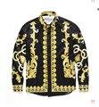 2017 Роскошная Марка Мужские Рубашки Платья Мода Дизайн Печатных Мужчин Slim Fit Рубашки С Длинным Рукавом Сорочка Homme Случайный