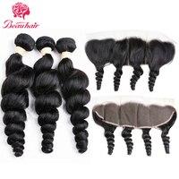 Beau Hair Brazilian Curly Human Hair 3PCS Loose Wave Weave Bundles With Free Part 13x4 Lace