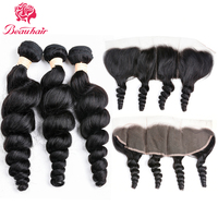 Beau Hair Brazilian Curly Human Hair 3PCS Loose Wave Weave Bundles With Free Part 13x4 Lace