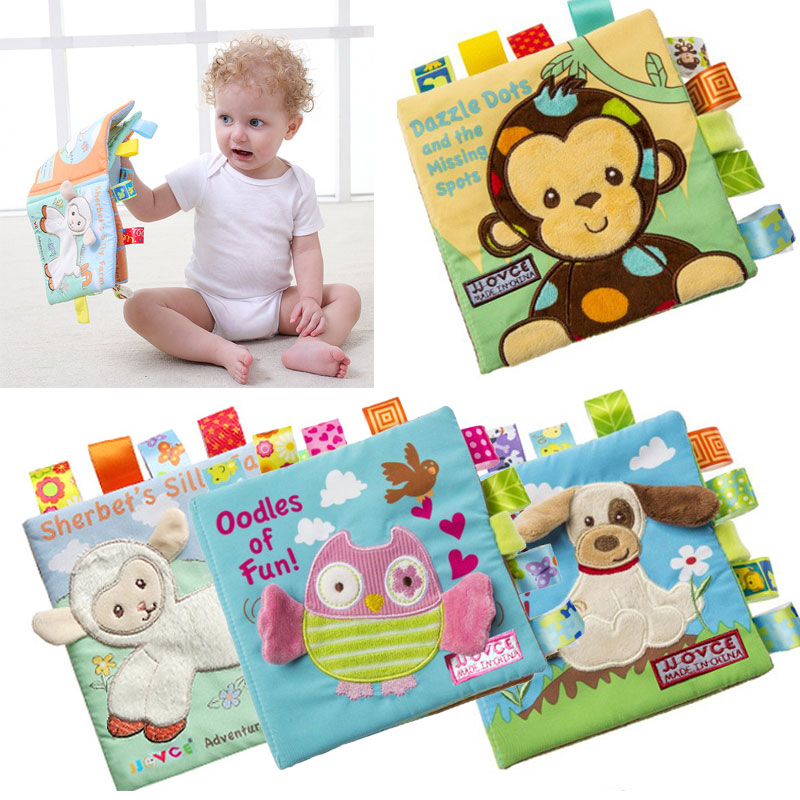 Baby Learning&Education Animal embroidery Soft Cloth Book animals Fabric Book Infant Baby Early Education Cloth Books cute animal enlightenment cognition baby cloth book bebes toys animal learning education unfolding activity books ring paper