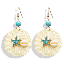 2019 Fashion Bohemian Starfish Shell Rattan Drop Earrings For Women Round Dangle Dangle Earrings Conch Shell Beach  Jewelry 1pair beach fashion shell pendant earrings for women trendy dangle earring elegant round shape bohemian jewelry holiday earrings
