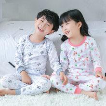 Пижамный комплект для девочек, весна-осень, детский хлопковый комплект с длинными рукавами, хлопок, подштанники для больших мальчиков, детская одежда для сна, нижнее белье с круглым вырезом