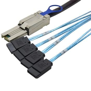 Mini sas 26P SFF-8088 TO 4x SATA 7Pin Mini-SAS 26P TO 4SATA cable with latch 1m фото