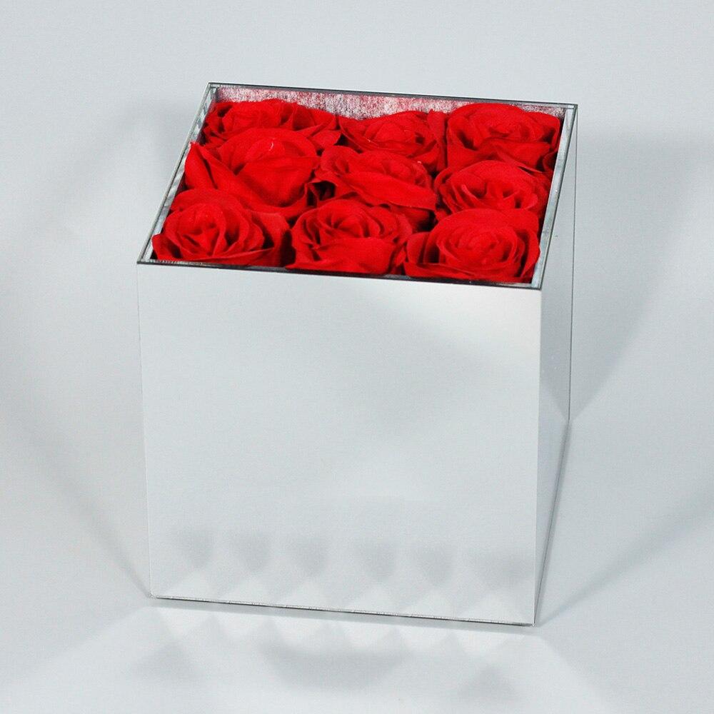 Miroir Acrylique Fleur Boîte De Rangement Cas Saint Cadeau De Noël du Jour de Valentine Cadeau Pour Petite Amie Sans Fleurs