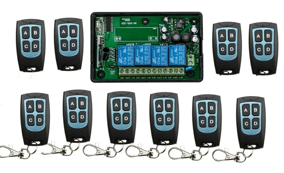 AC110V 220V 4CH RF Wireless Remote Control System / Radio Switch remote switch 220V Learning code receiver+ 10 remote controller 6 pieces receiver 220v wireless remote control switch lamps water pump motor controller switch remote control switch