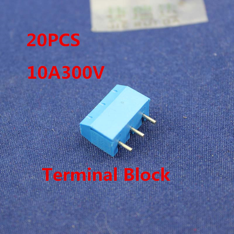 Free shipping 20PCS 3 Pin Screw Terminal Block Connector 5mm Pitch 5.08-301-3P 301-3P 3pin 10A/300V free shipping one lot 50pcs 3 pin way 3 81mm pitch terminal block connector pcb mounted 1v 3 81 3p