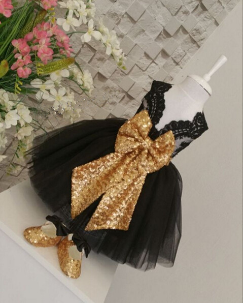 Sleeveless Black flower girl dresses with Gold Bow Baby Birthday Party Dress glitz pageant dresses ball gowns for Kids Evening 15 color infant girl dress baby girl pageant dress girl party dresses flower girl dresses girl prom dress 1t 6t g081 4