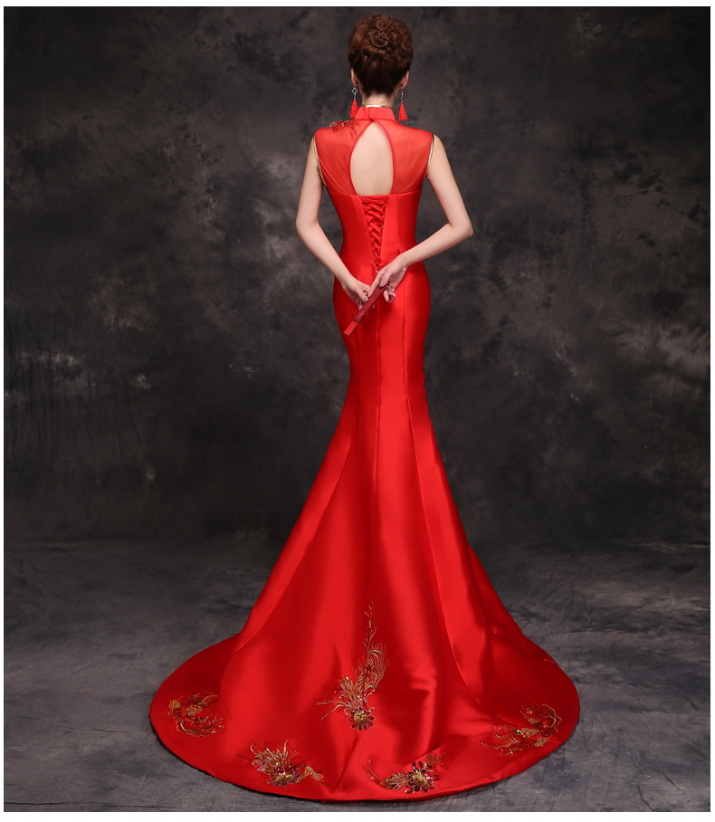 Bride Traditional Chinese Cheongsam Dress Qipao Embroidery Red Mermaid Wedding Gowns Style Chinois Femme Oriental Dresses 8