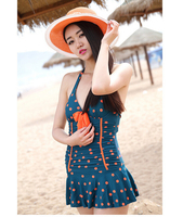 2016 New Couple Style Swimsuits Print Orange Dot Women One Pieces Swimwear And Men Board Shorts