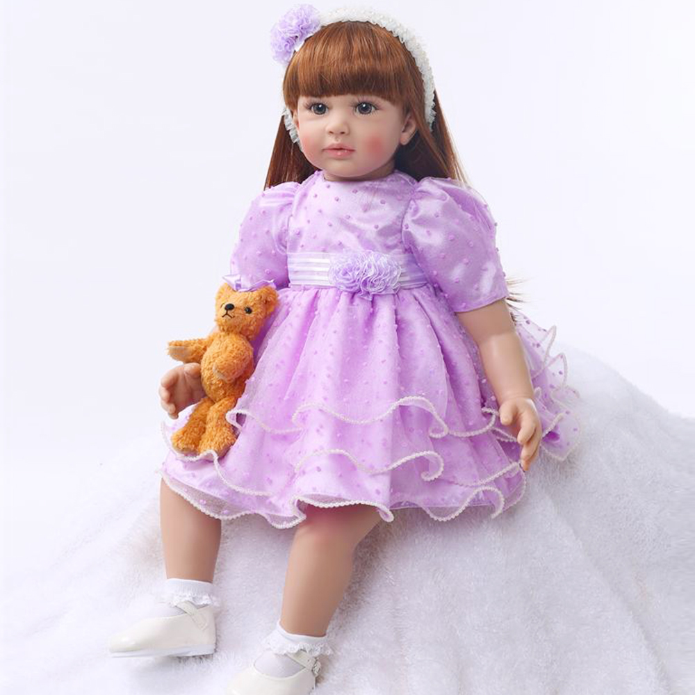 Mini Bear Toy With 59cm Brown Hair Silicone Baby Doll Reborn Girl Dolls For Children Cute Newborn Baby Birthday Bebe Gift Toy