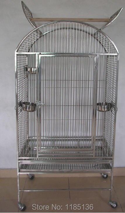 Haute qualité grande Cage à oiseaux perroquet Cage 201 en acier inoxydable Cage à oiseaux Top ouvert 22*22*59 ''ST63R