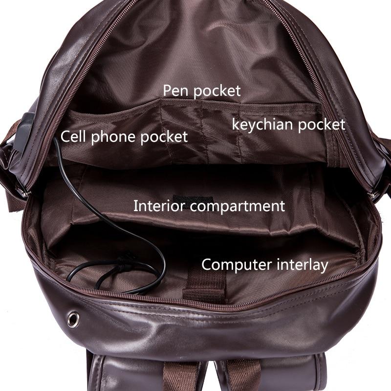 de couro dos homens masculina Backpack Mochila : School Bags