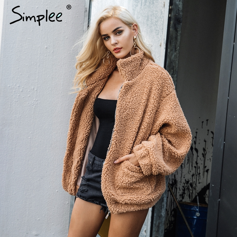 Simplee Faux fur lambswool oversized jacket coat Winter black warm hairly jacket Women autumn ladies outerwear