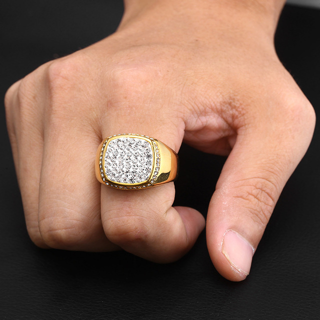 Iced Out Square Crystal Ring 8