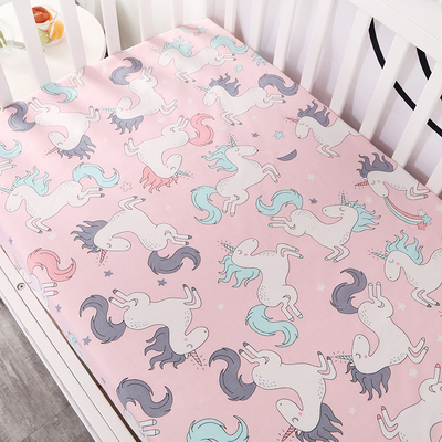 Customize baby kids bed sheet crib mattress cover bedding set cartoon parteen fitted crib sheet for girls boys (6)