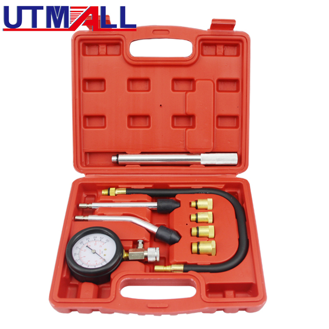Benzin Engine Compression Tester Tool Kit Mit Verlängerung Bar 0 ~ 300psi M10 M12 M14 M18 Adapter