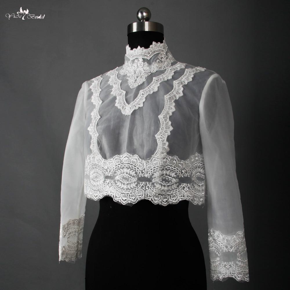 RSJ8 Long Sleeve High Neck Lace Wedding Jacket