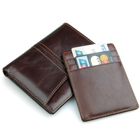 RFID Blocking Leather Travel Bifold Wallet For Men Credit Card Protector With Double ID Card Window