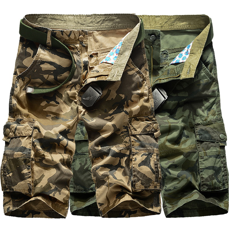 VERTVIE Camo Shorts Zipper-Trousers Cargo Streetwear Bermuda Summer Baggy-Pockets Men's