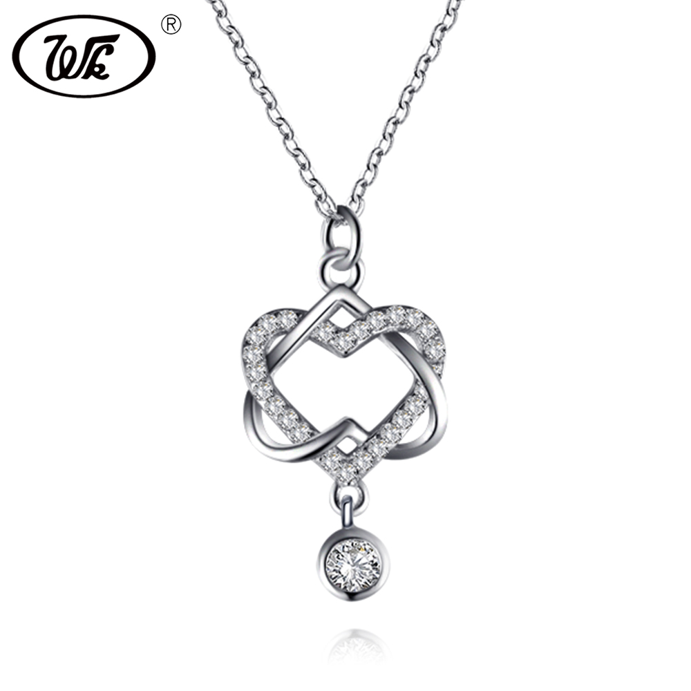 WK Unique Charm Intersect Double Heart Necklace Silver 925 For Women Elegant Love Statement Necklaces Chokers Jewelry BW NB064