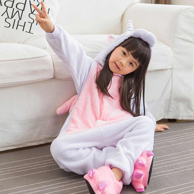 Jednorożec Onesie różowy piżamy dziewczyny dzieci dziecko strona główna nosić piękne kreskówka z uroczymi zwierzętami zimowe ciepłe miękkie piżamy siostra bielizna nocna