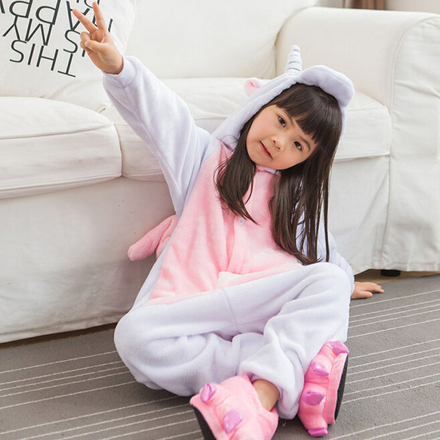 Unicorn Onesie Pink Pajama Girls Kids Child Home Party Wear Lovely Cute Animal Cartoon Winter Warm Soft Pyjama Sister Sleepwear