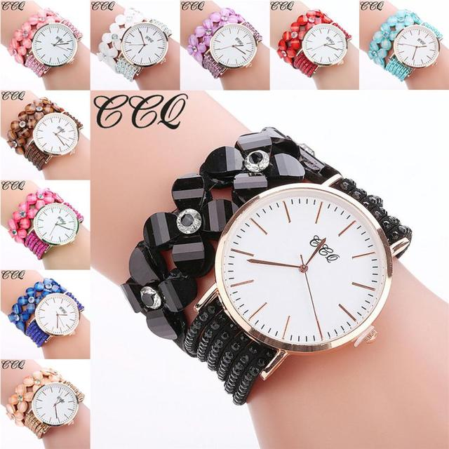 CCQ New Flowers Watch Fashion Casual Women's Bracelets Quartz Dress Watches brac