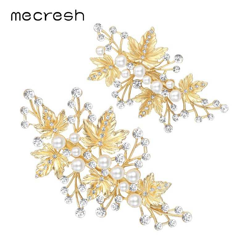 Mecresh 2pcs/set Simulated Pearl Gold-Color Leaves Hairpins Wedding Jewelry Bridal Hair Accessories TS024