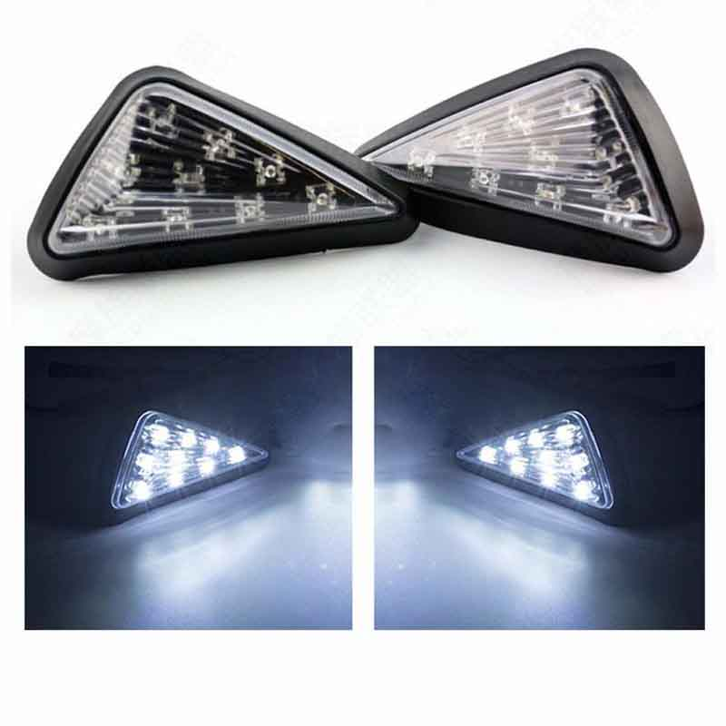Triangle Flush LED Motorcycle Turn Signals Blinkers Indicator Lights 1 Pair (White)