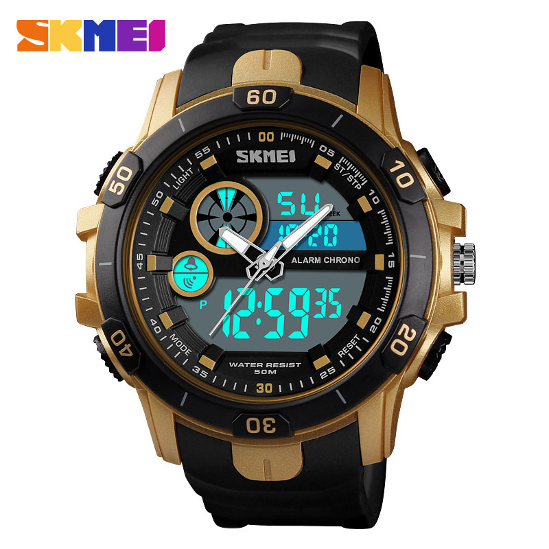 SKMEI Large Dial Men's Electronic Watch Fashion Mens Watches Top Brand Luxury Stopwatch New Male Clock Water Resistant Digital