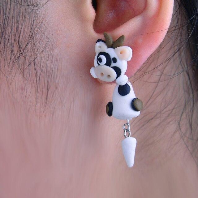 W Aoe New Design Kawaii Cartoon Cow Stud Earring Diy Handmade