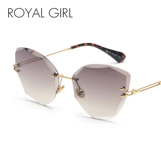 85feb07053d80 ROYAL FILLE lunettes de Soleil Sans Monture Femmes 2018 Marque Designer Cat  Eye Lentille De Coupe