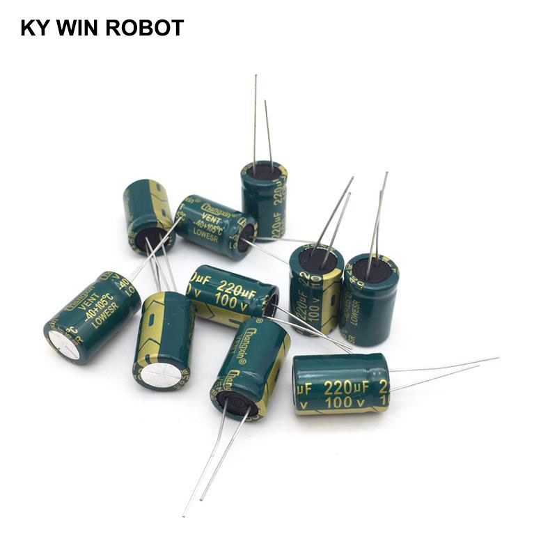 10 Pcs Aluminum Electrolytic Capacitor 220 UF 100 V 13 * 20 Mm Frekuensi Tinggi Radial Electrolytic Kapasitor