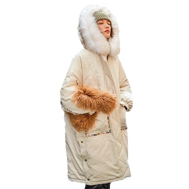 2018 Kore Tarzı Elbise Rahat Gevşek Artı Boyutu Palto Yeni Kış Ceket Kadınlar Gerçek Rakun Saç Yaka Şapka uzun kaban A612