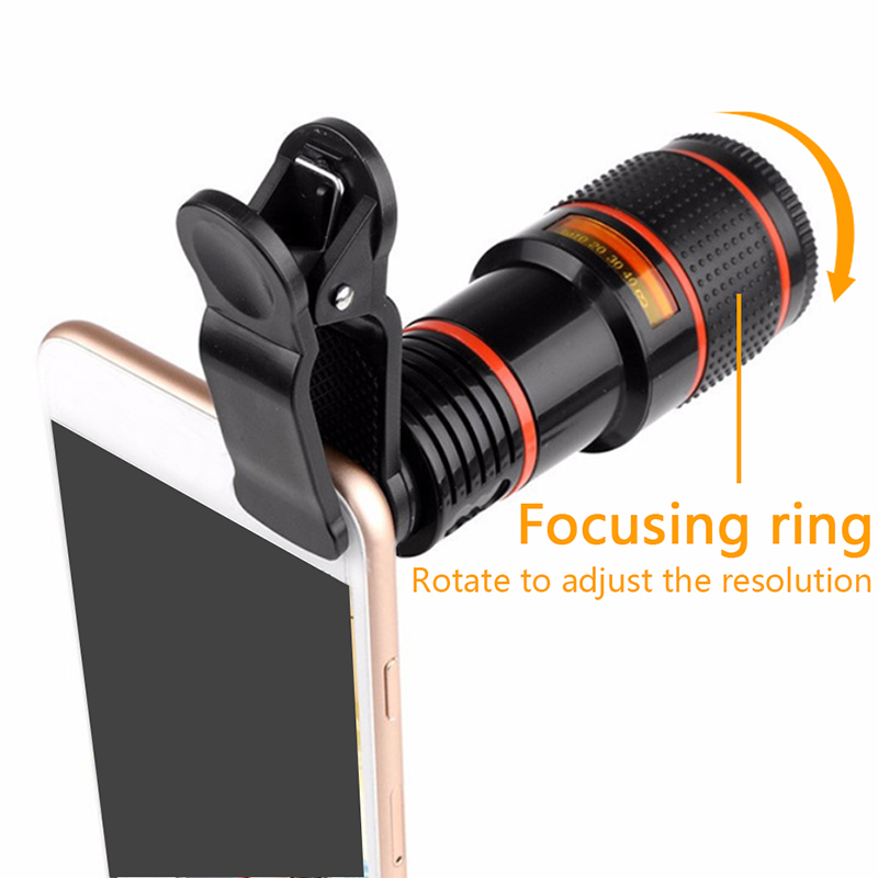 Camping equipment outdoor gadget universal 12 times mobile phone telephoto telescopeHD external camera lens zoom focus