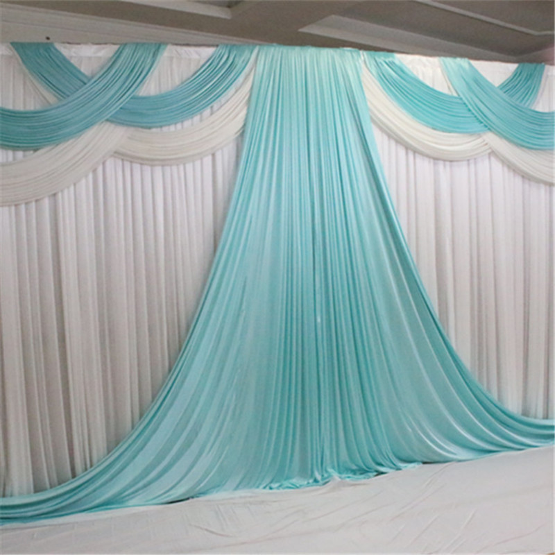 3m * 6m (10ft* 20ft) Ice Silk Customized Wedding Backdrop & Party Curtain Drapes & Party Swag Decoration 1 pc Free Shipping