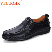 Handmade Leather Shoes Men Breathable Soft Men Leather Shoes Slip On Men Loafers High Quality