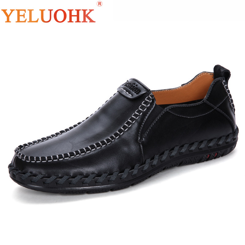 Handmade Leather Shoes Men Breathable Soft Men Leather Shoes Slip On Men Loafers High Quality high end breathable men casual shoes loafers genuine leather lace up rubber handmade slip on sewing lazy shoes italian designer
